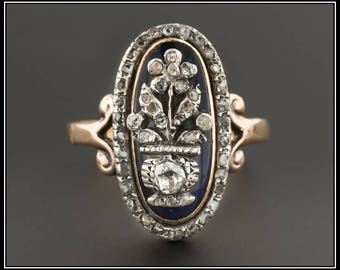 Antique Giardinetti Diamond Ring | Antique Blue Enamel Ring | Giardinetti Ring | Antique Flower Ring | Antique Diamond Ring