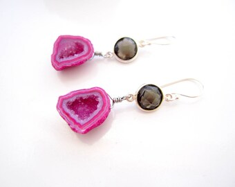 Bright Pink Druzy Earrings, Smoky Quartz Earrings, Boho Luxe, Pink and Brown, Druzy Dangles, Gemstone Drops