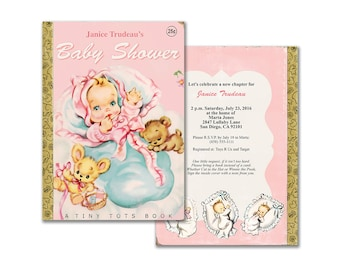 Book themed baby shower invitation printable baby shower printable baby girl storybook shower invitation pink vintage book themed invite editable pdf customize it yourself instant download filmwisefo