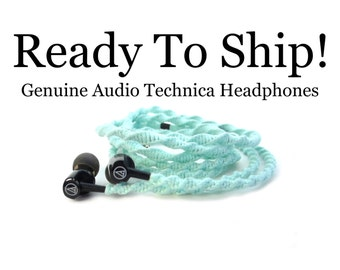 READY To SHIP FAST! Genuine Audio Technica Earphones | Mint Wrapped Tangle Free Earbuds | Unique Christmas Gift For Mom, Girl, Teen, Wife