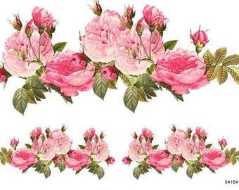 VinTaGe BeST XXL PinK CaBbaGe RoSeS SWaGs ShaBby DeCALs ~FuRNiTuRe SiZe~