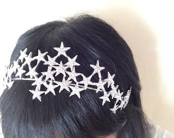 Sparkle stars wedding bridal jewelry headband Swarovski rhinestone crystals hair comb tiara, stars headpiece, rhinestones headband, party