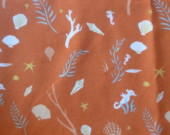 1/2 Yard Organic Cotton Fabric - Birch Fabrics, Saltwater, Flotsam and Jetsam Coral