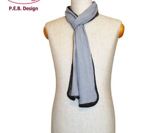 Silk scarf Icemint-Anthracite or Icemint-blue, men's scarf, unisex scarf, nuno scarf, felt scarf, silk, bourette, wool