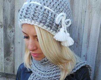 NORDIC TASSEL CROCHET Pattern, Crochet Hat Pattern, Crochet Scarf pattern, Women's hat pattern, Ladies hat Instant download Pdf Pattern Usa