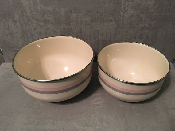 Vintage Metal Bowls Vintage Striped Bowls Vintage pink and