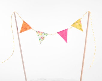 ADD ON Bunting Cake Banner - bunting cake topper - banner with flags cake topper - bunting flag wedding cake topper