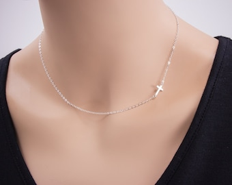 Sideways Cross Necklace, Sterling Silver, Horizontal Cross Necklace, Petite Cross, Religious Jewelry, Celebrity Inspired