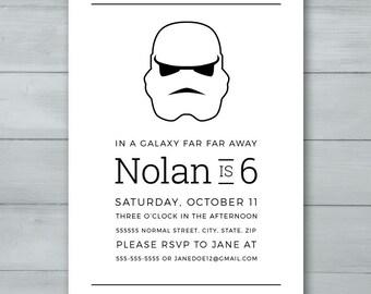 Storm Trooper Star Wars Birthday Party Invitation  |  Storm Trooper Star Wars Invite  |  Star Wars Invitation  |  Star Wars Invite
