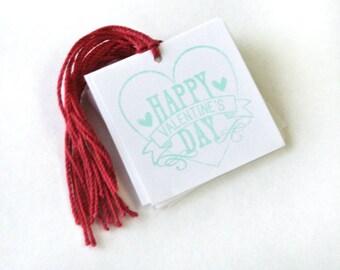 Happy Valentine's Day heart Tag Set 10 Blank holiday treat tag