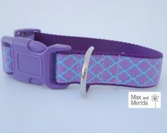 adjustable dog collar, Lavender and Teal Quatrefoil Lattice, pet gift, fur baby, Pet Owner Gift, Pampered Pet, Dog Accessories