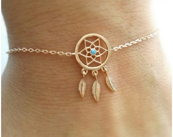 Dream bracelet gold plated dreams 750-gold plated Bracelet 750/000 dreamcatcher, dream catcher - 18 k gold plated Dreamcatcher bracelet