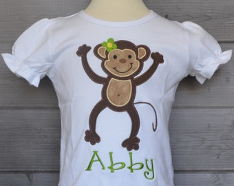 Personalized Monkey Applique Shirt or Bodysuit Girl or Boy