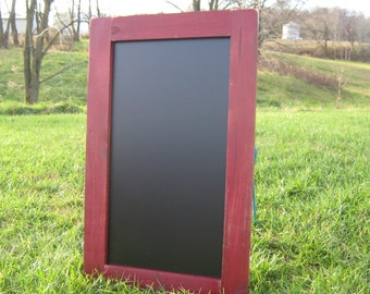 Rustic large hanging chalkboard colonial red distressed chalk board message center dry erase board