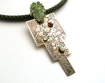 Asian flavered etched brass with Ethiopien Opals, Pyromorphite, Carnelian necklace.