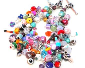beaded bracelet. rainbow brite colors handmade beaded wire wrapped layered gemstone bracelet.