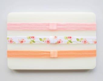 Baby headband set | flower headband for girl | pastel headband pink | easter headband for infant | interchangeable and adjustable headband