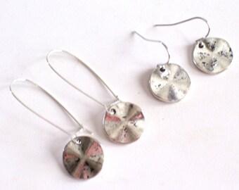 Antiqued Silver Disc Earrings, Silver Earrings, Modernist Earrings, Minimalist Earrings, Everyday Jewelry, Pierced Dangle Earrings