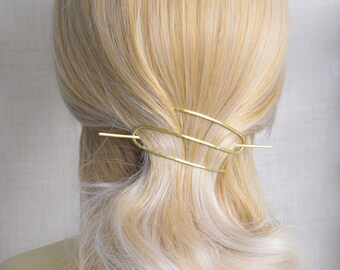 Gold Brass Hair Slide - Brass Hair Piece - Brass Hair Clip - Hair Accessories - Women's Gift - Hair Piece for French Twist - Brass Hair Clip