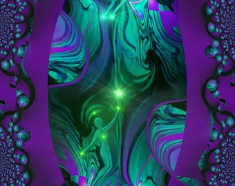 "Purple Teal Wall Decor, Spiritual Self Improvement, Reiki Attuned ""The Guide"""