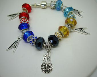Star Trek Insignia's European charm faceted acrylic beads bracelet red yellow light blue royal You pick chain size Help save a cat/kitten