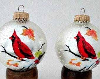 2 Cardinal Glass Christmas Ball Ornaments - Vintage Bird Ball Ornaments Decorations