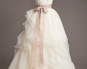 "Soft Taupe Wedding Sash - 2"" - Romantic Luxe Grosgrain Ribbon Sash - Wedding Belt, Bridal Sash, Bridal Belt - Wedding Dress Sash"