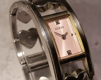 Guess Watch, Gift for Her 2017, 手表, Pink, Womens, Stainless Steel, Ladies Vintage, Retro, Heart, Love, You Are So Loved, Lovesick, Square