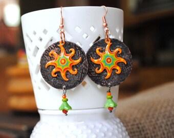Sunburst Earrings, Copper Earrings, Orange Earrings, Boho Earrings, Textured Copper Earrings, Celestial Earrings, Unique Artisan,