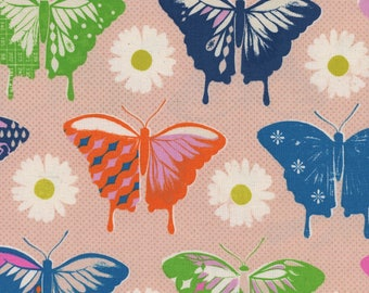 Flutter - Butterflies Peach - Melody Miller - Cotton and Steel Fabrics - Fabric by the Half Yard