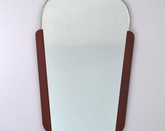 Original Vintage Retro Mid Century Atomic Modernist 50's 60's Teak Wall Mirror