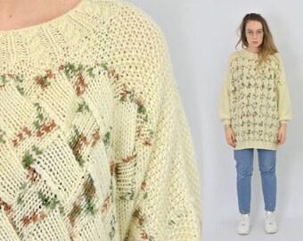 Beige sweater Retro creamy Patterned pullover 80's women vintage Oversized L-XXL