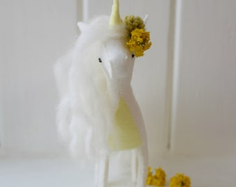 Unicorn Sewing Kit. Lemon. DIY craft kit. Unicorn plush. Animal totem. Felt kit. Needlecraft kit. DIY gift. Stuffed unicorn. Home decor