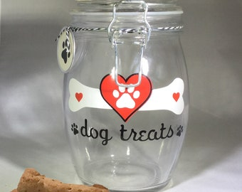 Personalized Dog Treat Jar - Dog Treat Container - Dog Biscuit Jar - Red Heart with White Paw Print Dog Treat Canister