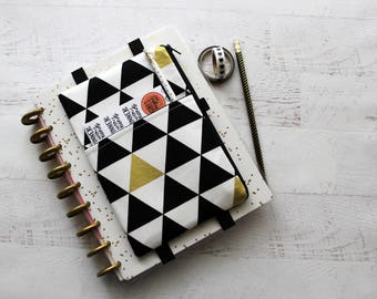 Planner cover - planner bag - planner pouch with elastic bands - modern triangles print