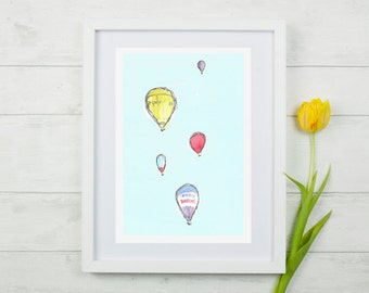 Hot air Balloon art, hot air balloon nursery, Hot air balloon Print, Nursery art, kids wall art, bristol, Kids prints, A4 Giclee Print.