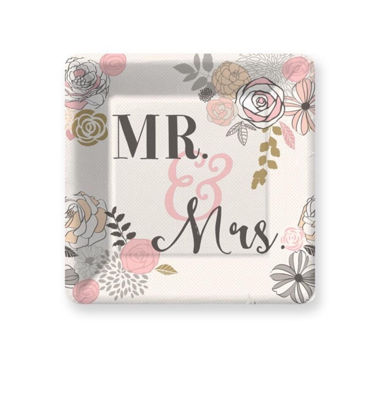 Mr & Mrs Paper Plates, Pkg 8, Wedding Plates, Cake Plate, Wedding ...
