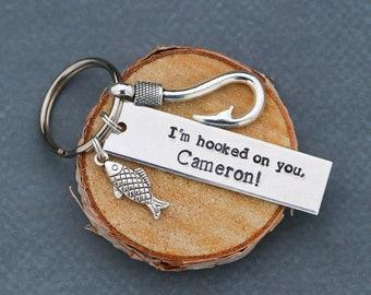 I'm Hooked Keychain • Boyfriend Gift Husband Fishing Gift • Personalized Him Gift Guy Fisherman Keychain Fish Hook Charm Fishhook • QQQ