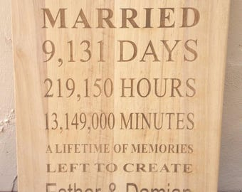 Engraved Wooden 25 Years Plaque - Personalised - Anniversary Gift