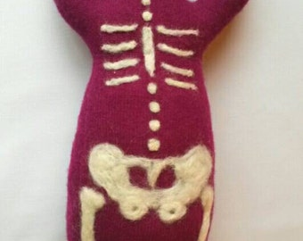 Magenta Skeleton ~ Wool Goddess Doll Medium