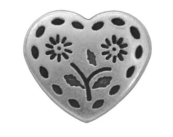 3 Stitched Heart 1 inch ( 27 mm ) Metal Buttons Silver Color
