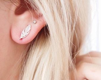 Earrings leaves, feathers Silver 925 - sterling silver earrings