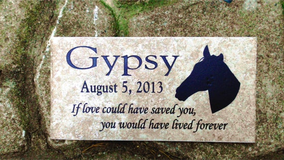 "Horse Memorial plaque. 12x6 Maintenance Free Weathered Italian Porcelain Stone Tile. ""Gypsy"" Design"