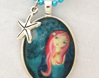 Mermaid Necklace-Childs necklace - Girls Accessories- Mermaid Jewelry- Gift Under 20- Stocking Stuffer-Childrens Jewelry