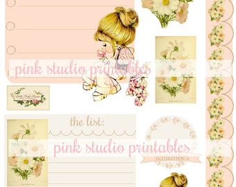 Pretty Girl and Flowers,  printable journal cards, tuck spots, stickers, for junk journals, planners, bullet journals (vintage ephemera)