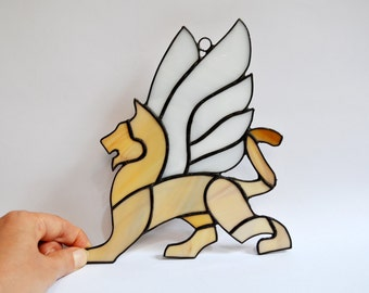 Winged lion Mythical creature fantasy stained glass panel - Greek mythology beast animal wall art decor - Gryphon Griffin window decoration