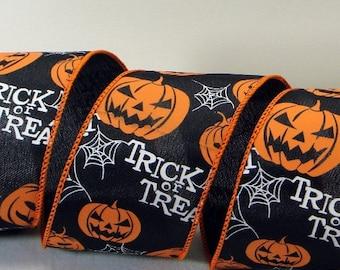 2.5 inch Wired Halloween Ribbon ~ Black Ribbon, Pumpkins, Spider Webs & Trick or Treat ~ Halloween Decor Ribbon ~ 3 Yards