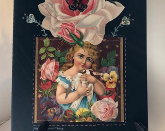 EXTRA Large Collaged Moleskine LINED Journal Antique Paper Mrs. Roosevelt Pink ROSE Girl with Dove