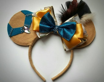 Pocahontas inspired Minnie Mouse Ears Headband Feathers/Princess/Birthday/Colors of the Wind/Crown/Gold