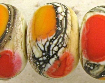 Handmade Lampwork Glass Bead Set of 6 Lipstick Red Apricot and Ivory with Frosted Finish Small 11x7mm  Soft Fire Velvet